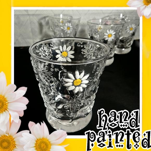 4 transparent daisy pressed Italian glasses